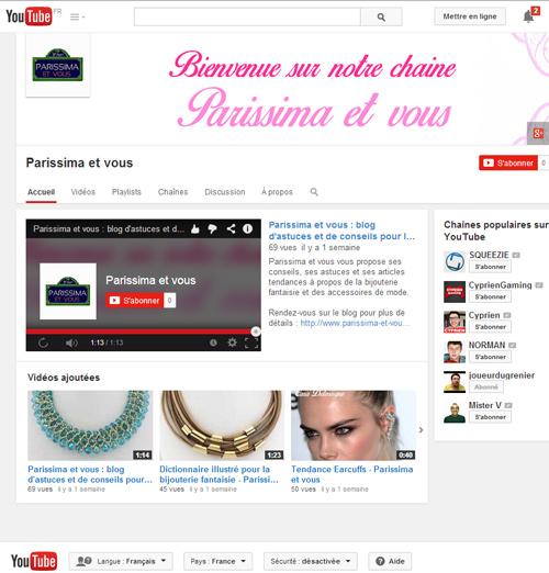 Chaîne Youtube Parissima et Vous