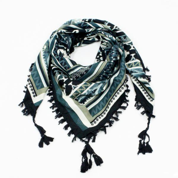 foulard keffieh avec bordure pompons