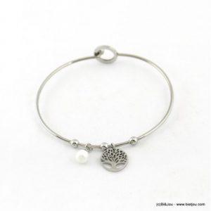bracelet jonc fermé arbre de vie