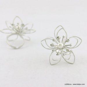 bague fleur perle synthétique