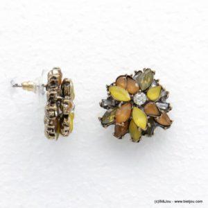 boucles d'oreilles fleur cristal