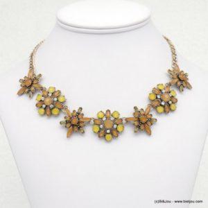 collier fleurs en cristal