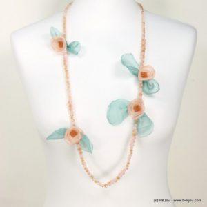 collier sautoir fleurs mousseline
