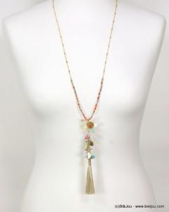 Bijoux : sautoir pendentif fleuri