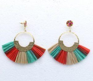 Boucles d'oreilles perles de rocaille et franges en paille Parissima