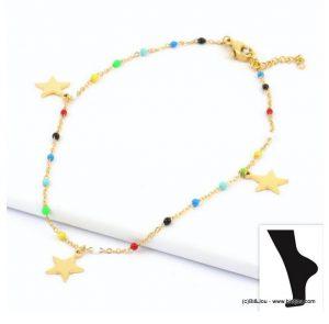 Bracelet de cheville en acier inoxydable et pendentifs étoiles Parissima