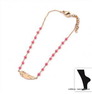Bracelet de cheville en acier inoxydable avec pendentif plume Parissima