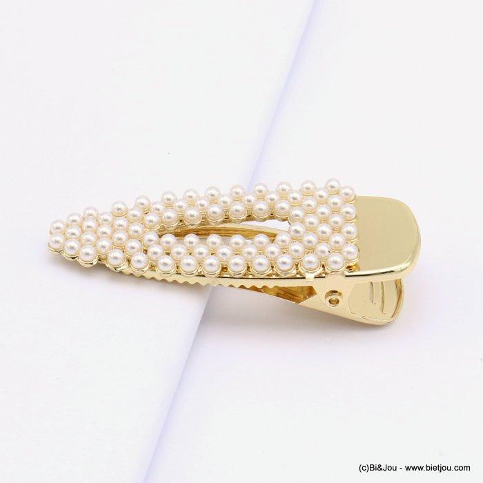 Pince à cheveux crocodile, triangulaire ajourée, perles synthétiques bijoux accessoires pour cheveux tendance