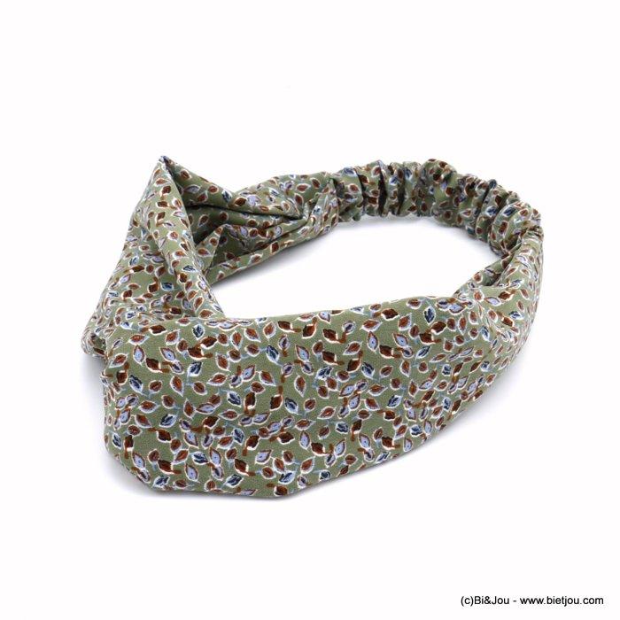 bandeau croisé turban cheveux tissu imprimé petites feuilles bijoux accessoires pour cheveux tendance