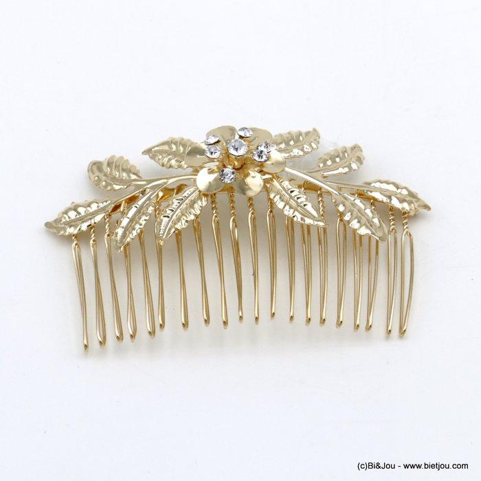 peigne cheveux mariage bijou de tête fleur feuille métal doré strass femme accessoires pour cheveux tendance