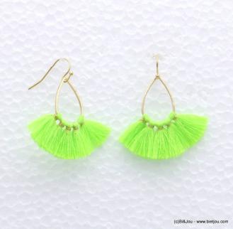 Boucles d'oreilles pompon fil fluo goutte métal tendance mode bijoux