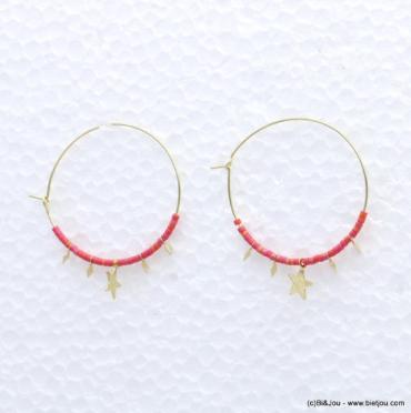 Boucles d'oreilles métal à perles de rocaille fluo tendance mode bijoux