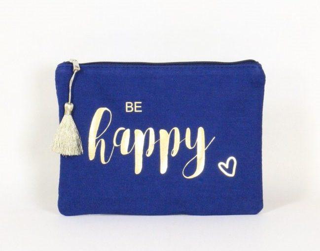 """Pochette à message en coton avec écrit """" Be happy"""""""