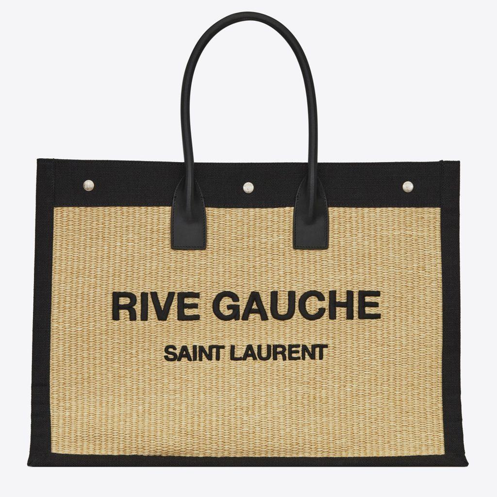 """Sac cabas de plage de la marque YSL avec écrit """" Rive Gauche - Saint Laurent"""""""
